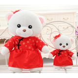 Teddy Bear Doll Couple's a Valentine's Day Gift Married Gift Wear Tang Suit