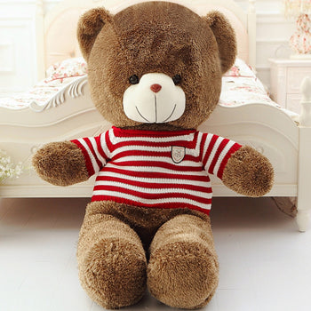 Brown Teddy Bear Doll Wear Red White Striped Sweater - MxDeals.com