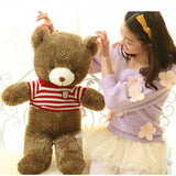 Brown Teddy Bear Doll Wear Red White Striped Sweater