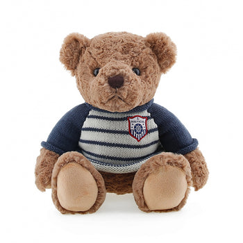 Brown Teddy Bear Doll Wear Long Sleeve Blue Sweater Children Gift - MxDeals.com