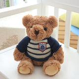 Brown Teddy Bear Doll Wear Long Sleeve Blue Sweater Children Gift