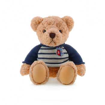 Light Brown Teddy Bear Wear Long Sleeve Blue Sweater Children Gift