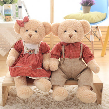 Teddy Bear Couple's Doll a Wear Red Plaid Clothes Valentine's Day Gift - MxDeals.com