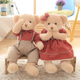 Teddy Bear Couple's Doll a Wear Red Plaid Clothes Valentine's Day Gift