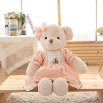 Teddy Bear Doll Wear Pink Dress Children Gift