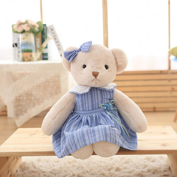 Teddy Bear Doll Wear Blue Dress Children Gift - MxDeals.com