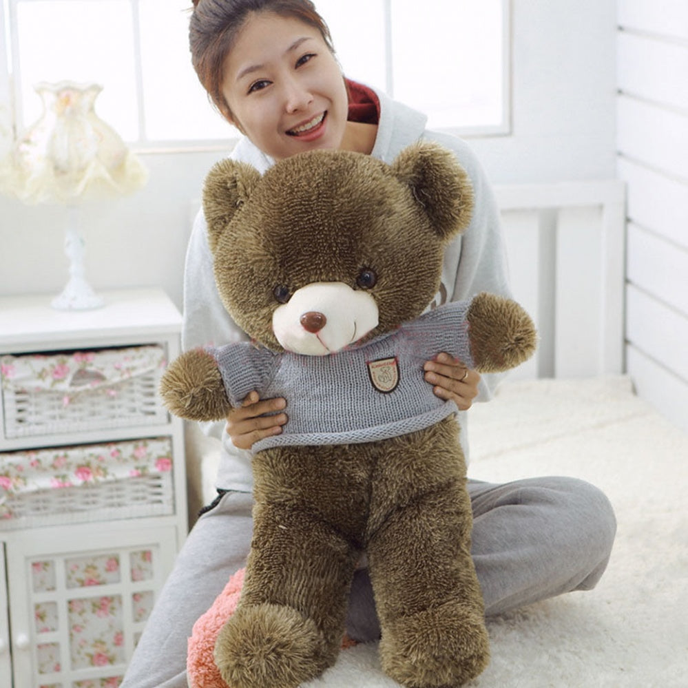 Brown Teddy Bear Wear Sweater Children Gift