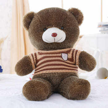 Dark Brown Teddy Bear Doll Wear Striped Sweater Children Gift