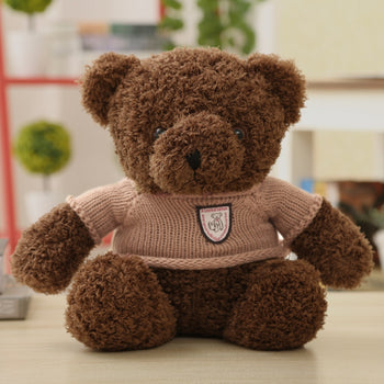 Small Teddy Bear Doll Dark Brown Wear Sweater Lovely - MxDeals.com