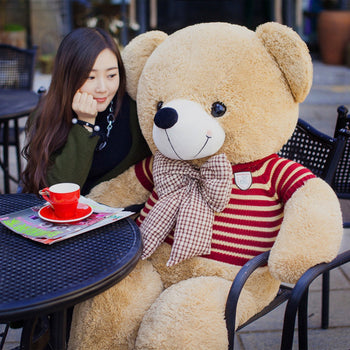Teddy Bear Doll Wear Red Striped Sweater Perfect of Gift - MxDeals.com