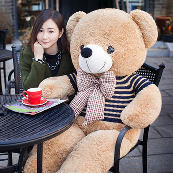 Teddy Bear Doll Wear Striped Sweater Perfect of Gift - MxDeals.com