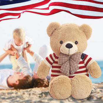 Teddy Bear Doll Wear American Flag Pattern of Sweater