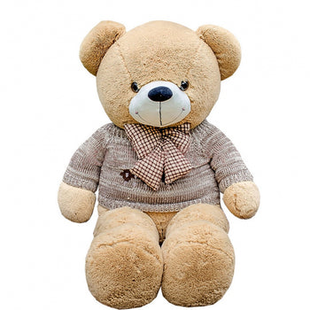 Teddy Bear Doll Brown Wear Jorg Gray Sweater with Bow Tie - MxDeals.com