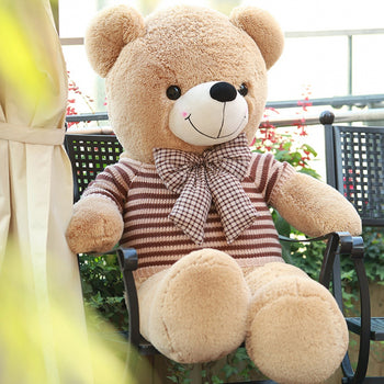Teddy Bear Doll Light Brown Wear Sweater with Bow Tie