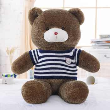 Dark Brown Teddy Bear Wear Blue Striped Sweater Many Kinds of Size Perfect of Gift - MxDeals.com