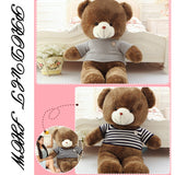 Dark Brown Teddy Bear Wear Blue Striped Sweater Many Kinds of Size Perfect of Gift