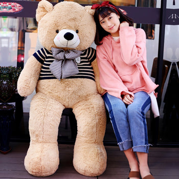 Light Brown Teddy Bear Doll Wear Black Sweater with Bow Tie - MxDeals.com