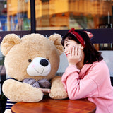 Light Brown Teddy Bear Doll Wear Black Sweater with Bow Tie