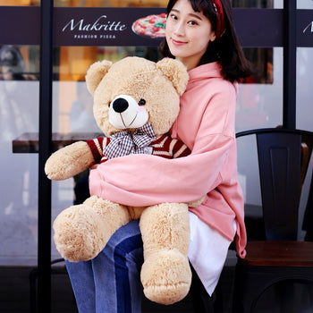 Light Brown Teddy Bear Doll Wear Red Sweater with Blue Bow Tie - MxDeals.com