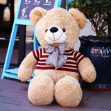 Light Brown Teddy Bear Doll Wear Red Sweater with Blue Bow Tie