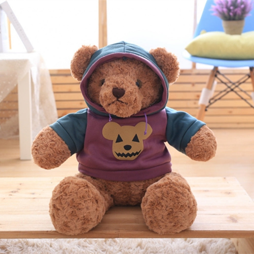 Dark Brown Teddy Bear Doll Wear Purple Jacket