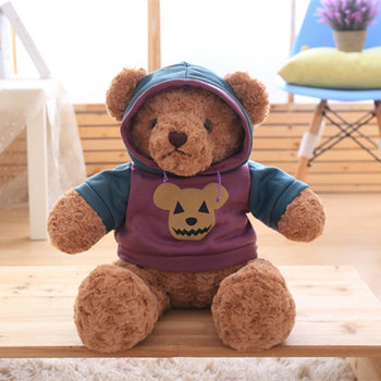 Dark Brown Teddy Bear Doll Wear Purple Jacket - MxDeals.com