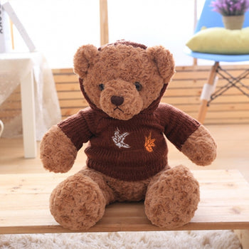 Brown Teddy Bear Doll Wear Hooded Sweater
