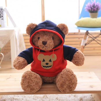 Dark Brown Teddy Bear Doll Wear Red Jacket - MxDeals.com