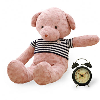 Rose Velvet Teddy Bear Doll Pink Wear Sweater - MxDeals.com