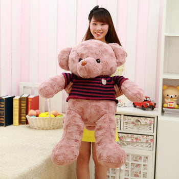 Rose Velvet Teddy Bear Doll Light Purple Wear Striped Sweater - MxDeals.com
