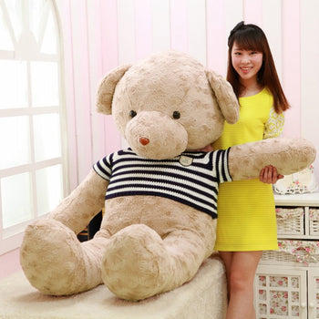 Rose Velvet Teddy Bear Light Brown Wear Blue And White Striped Sweater - MxDeals.com