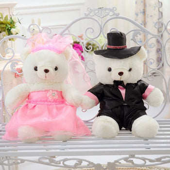 Couple Teddy Bear Doll Wear Pink Black Dress - MxDeals.com