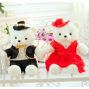 Couple Teddy Bear Doll Wear Black Red Dress