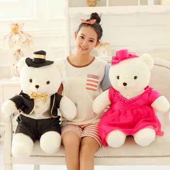 Couple Teddy Bear Doll Wear Black Rose Red Dress - MxDeals.com