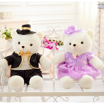 Couple Teddy Bear Doll Wear Black Purple Dress