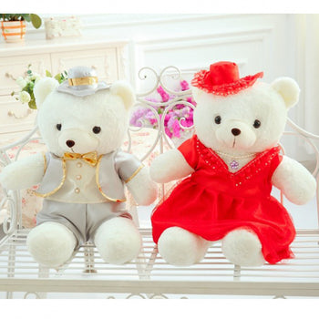 Couple Teddy Bear Doll Wear Beige Red Dress - MxDeals.com