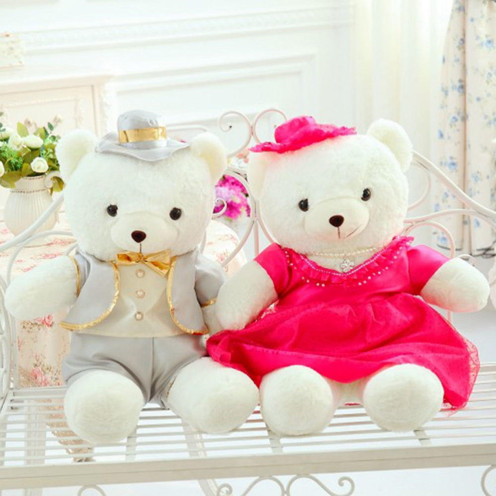 Couple Teddy Bear Doll Wear off-White Rose Red Dress