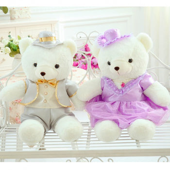 Couple Teddy Bear Doll Wear off-White Purple Dress