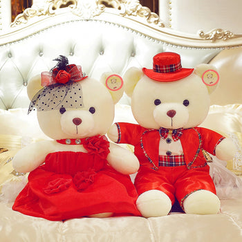 Couple Teddy Bear Doll Wear Red Dress