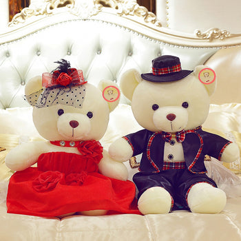Couple Teddy Bear Doll Wear Red Black Dress - MxDeals.com
