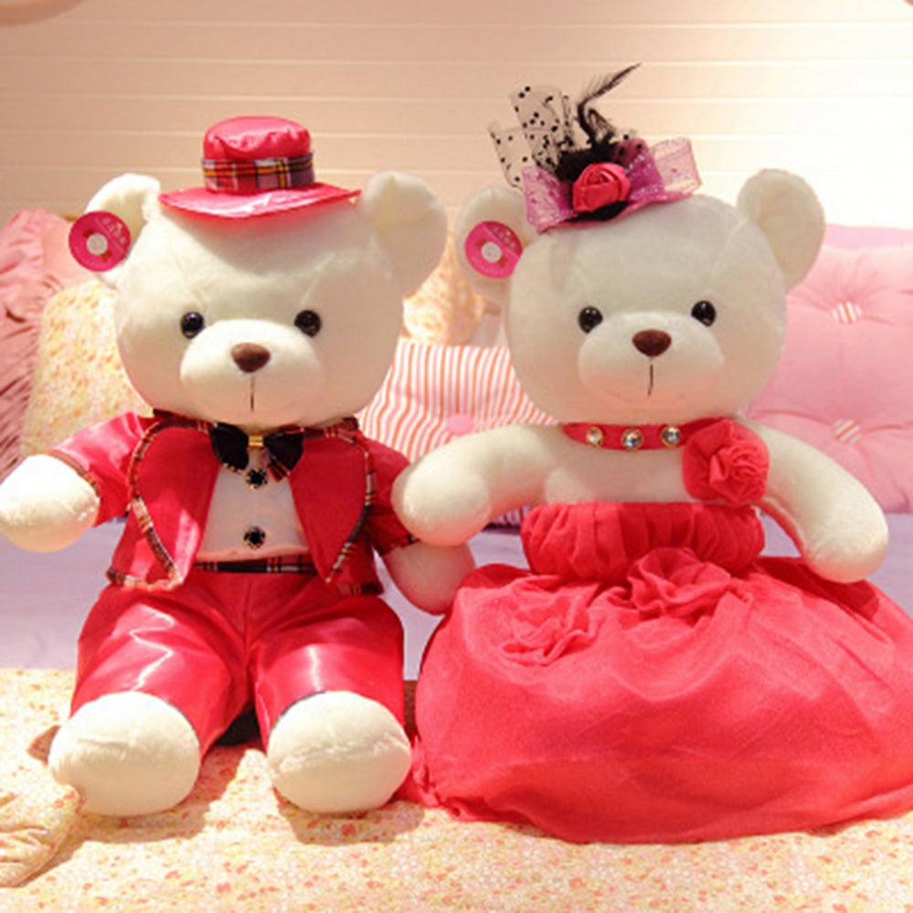 Couple Teddy Bear Doll Wear Rose Red Dress