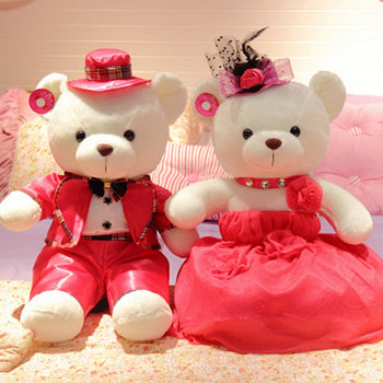 Couple Teddy Bear Doll Wear Rose Red Dress - MxDeals.com