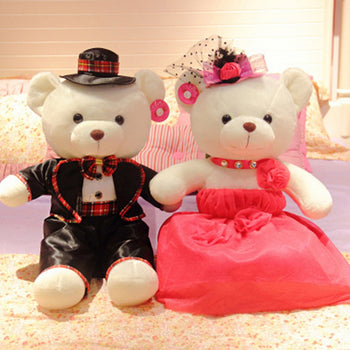 Couple Teddy Bear Doll Wear Black Rose Red Dress