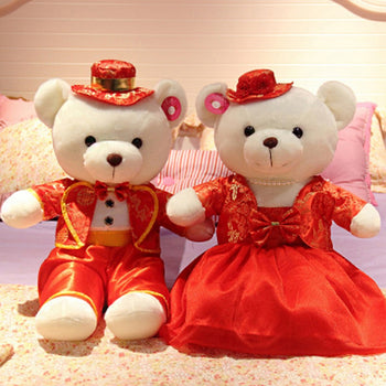 Couple Teddy Bear Doll Wear Red Costume