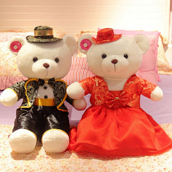 Couple Teddy Bear Doll Wear Black Red Costume