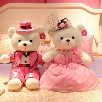 Couple Teddy Bear Doll Wear Pink Dress