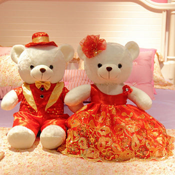 Couple Teddy Bear Doll Wear Red Dress - MxDeals.com