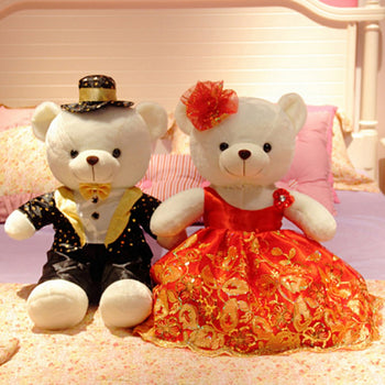 Couple Teddy Bear Doll Wear Red Black Dress