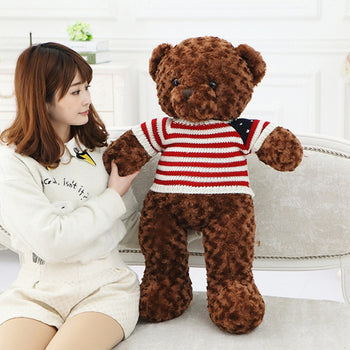 Dark Brown Teddy Bear Rose Velvet Fabric Wear Sweater