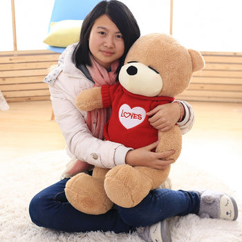 Shy of Teddy Bear Wear Red Lovely Sweater Valentine's Day Gift